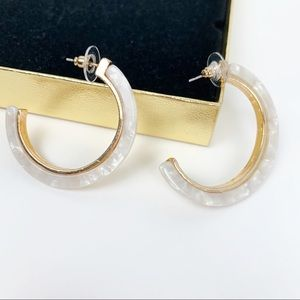 Jewelry - Marbled Acrylic Hoop Earrings White and Gold